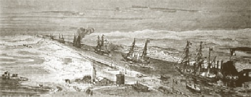 O Canal de Suez na altura da sua inauguração